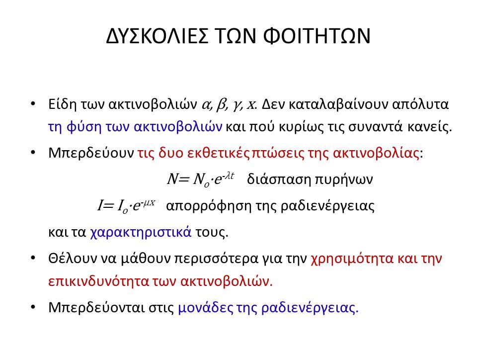 ΔΥΣΚΟΛΙΕΣ ΤΩΝ ΦΟΙΤΗΤΩΝ • Είδη των ακτινοβολιών α, β, γ, x. Δεν καταλαβαίνουν απόλυτα τη φύση των ακτινοβολιών και πού κυρίως τις συναντά κανείς. • Μπε