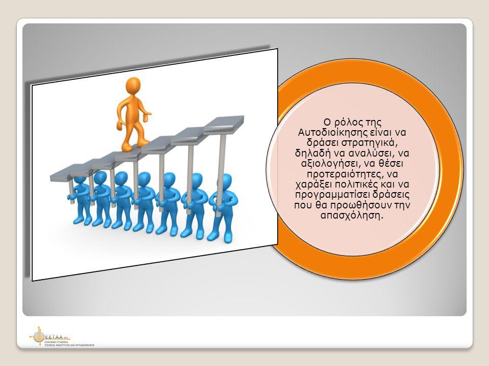 Ο ρόλος της Αυτοδιοίκησης είναι να δράσει στρατηγικά, δηλαδή να αναλύσει, να αξιολογήσει, να θέσει προτεραιότητες, να χαράξει πολιτικές και να προγραμματίσει δράσεις που θα προωθήσουν την απασχόληση.