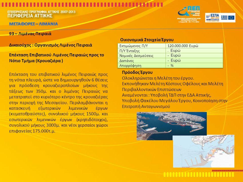 93 – Λιμένας Πειραιά Δικαιούχος : Οργανισμός Λιμένος Πειραιά Επέκταση Επιβατικού Λιμένος Πειραιώς προς το Νότιο Τμήμα (Κρουαζιέρα ) Επέκταση του επιβα
