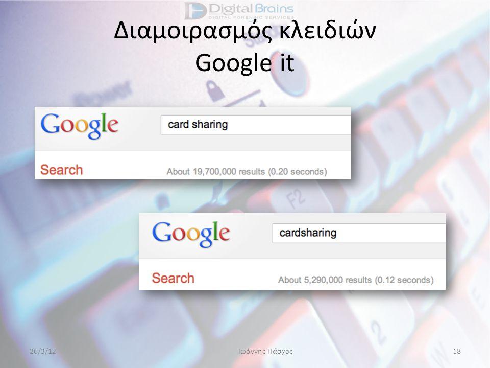 Διαμοιρασμός κλειδιών Google it 26/3/12Ιωάννης Πάσχος18
