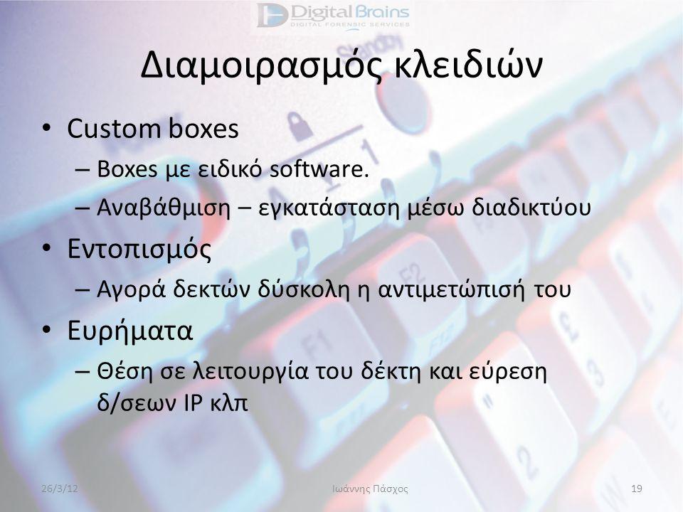 Διαμοιρασμός κλειδιών • Custom boxes – Boxes με ειδικό software. – Αναβάθμιση – εγκατάσταση μέσω διαδικτύου • Εντοπισμός – Αγορά δεκτών δύσκολη η αντι