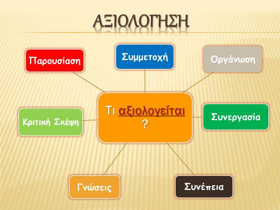 Τι αξιολογείται ? αξιολογείται Συμμετοχή Οργάνωση Συνεργασία Συνέπεια Γνώσεις Κριτική Σκέψη Παρουσίαση