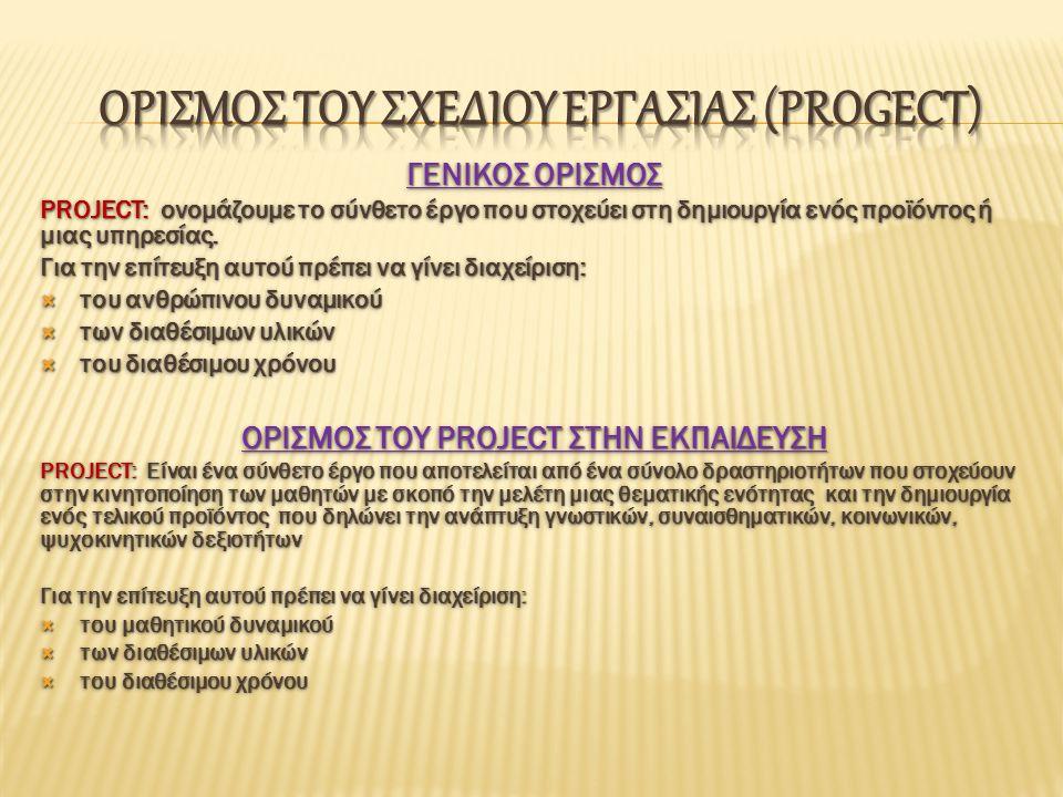 ΓΕΝΙΚΟΣ ΟΡΙΣΜΟΣ PROJECT: ονομάζουμε το σύνθετο έργο που στοχεύει στη δημιουργία ενός προϊόντος ή μιας υπηρεσίας.