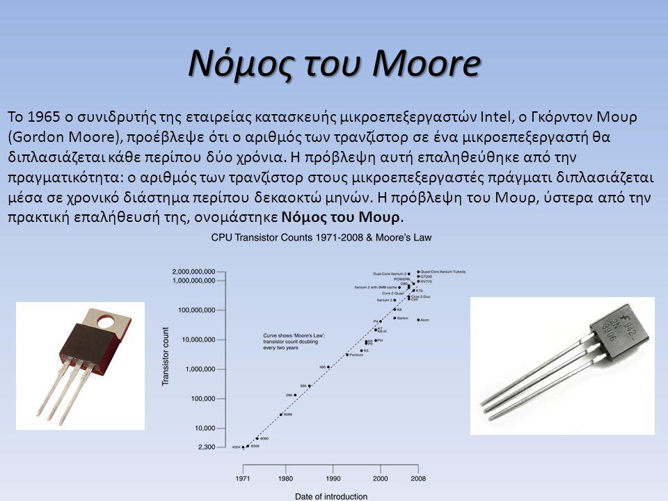 Νόμος του Moore Το 1965 ο συνιδρυτής της εταιρείας κατασκευής μικροεπεξεργαστών Intel, ο Γκόρντον Μουρ (Gordon Moore), προέβλεψε ότι ο αριθμός των τρα
