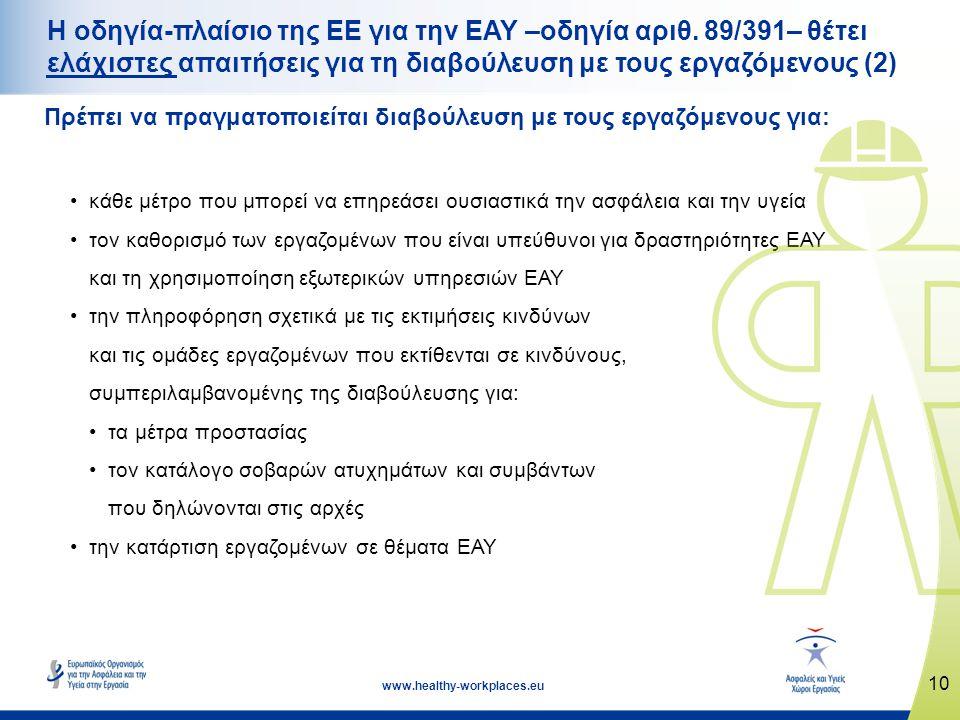 10 www.healthy-workplaces.eu Η οδηγία-πλαίσιο της ΕΕ για την ΕΑΥ –οδηγία αριθ. 89/391– θέτει ελάχιστες απαιτήσεις για τη διαβούλευση με τους εργαζόμεν