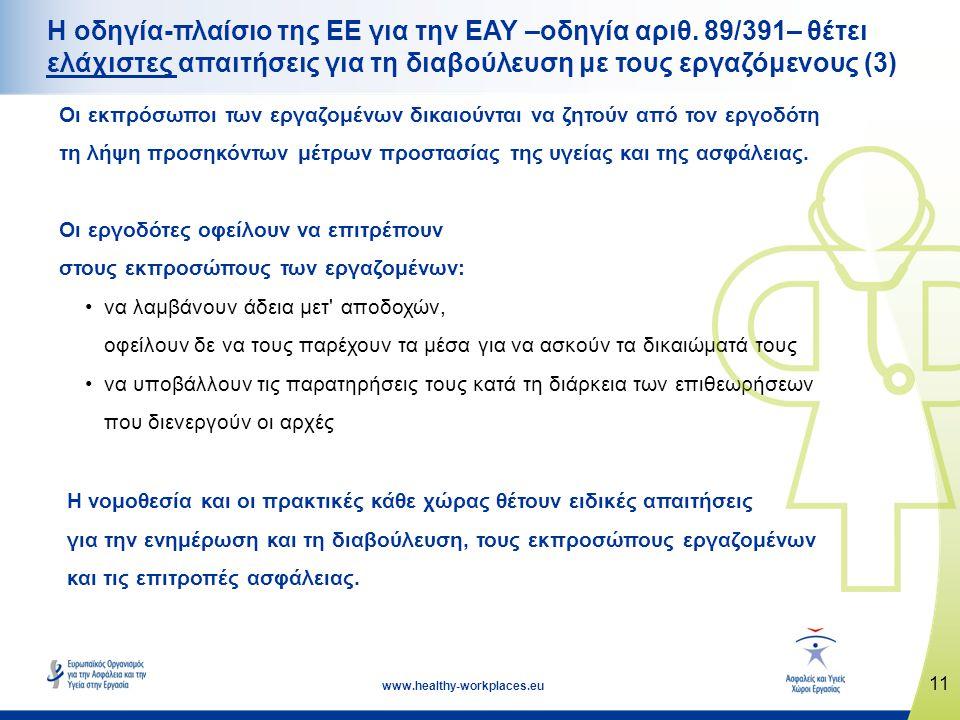 11 www.healthy-workplaces.eu Η οδηγία-πλαίσιο της ΕΕ για την ΕΑΥ –οδηγία αριθ. 89/391– θέτει ελάχιστες απαιτήσεις για τη διαβούλευση με τους εργαζόμεν