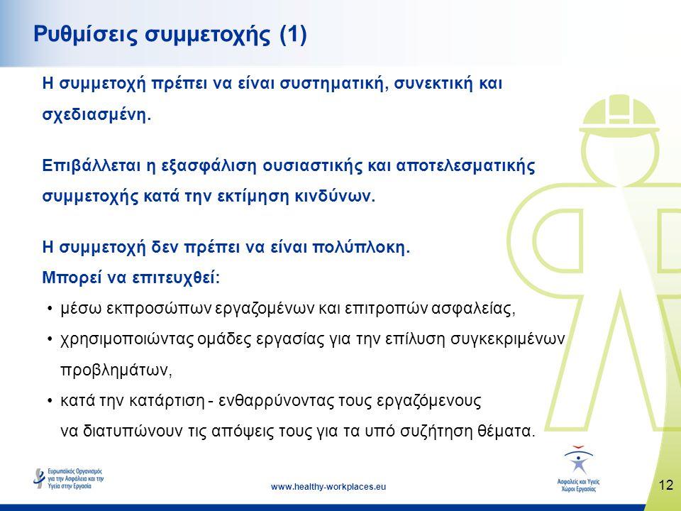 12 www.healthy-workplaces.eu Ρυθμίσεις συμμετοχής (1) Η συμμετοχή πρέπει να είναι συστηματική, συνεκτική και σχεδιασμένη. Επιβάλλεται η εξασφάλιση ουσ