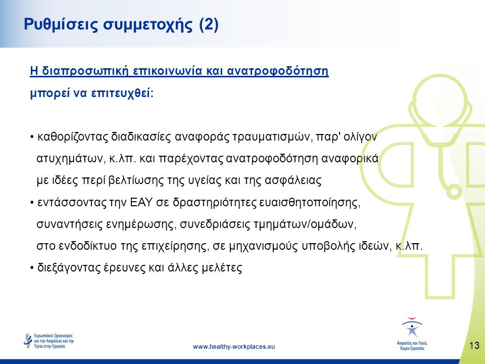 13 www.healthy-workplaces.eu Ρυθμίσεις συμμετοχής (2) Η διαπροσωπική επικοινωνία και ανατροφοδότηση μπορεί να επιτευχθεί: • καθορίζοντας διαδικασίες α