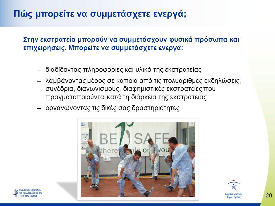 20 www.healthy-workplaces.eu Στην εκστρατεία μπορούν να συμμετάσχουν φυσικά πρόσωπα και επιχειρήσεις. Μπορείτε να συμμετάσχετε ενεργά: –διαδίδοντας πλ