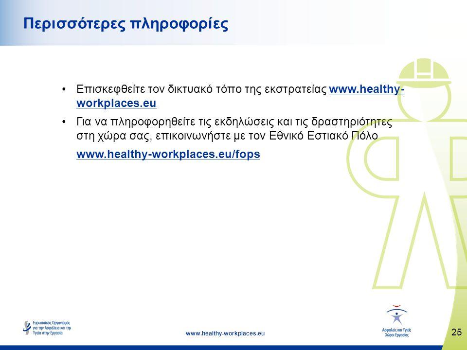 25 www.healthy-workplaces.eu •Επισκεφθείτε τον δικτυακό τόπο της εκστρατείας www.healthy- workplaces.euwww.healthy- workplaces.eu •Για να πληροφορηθεί