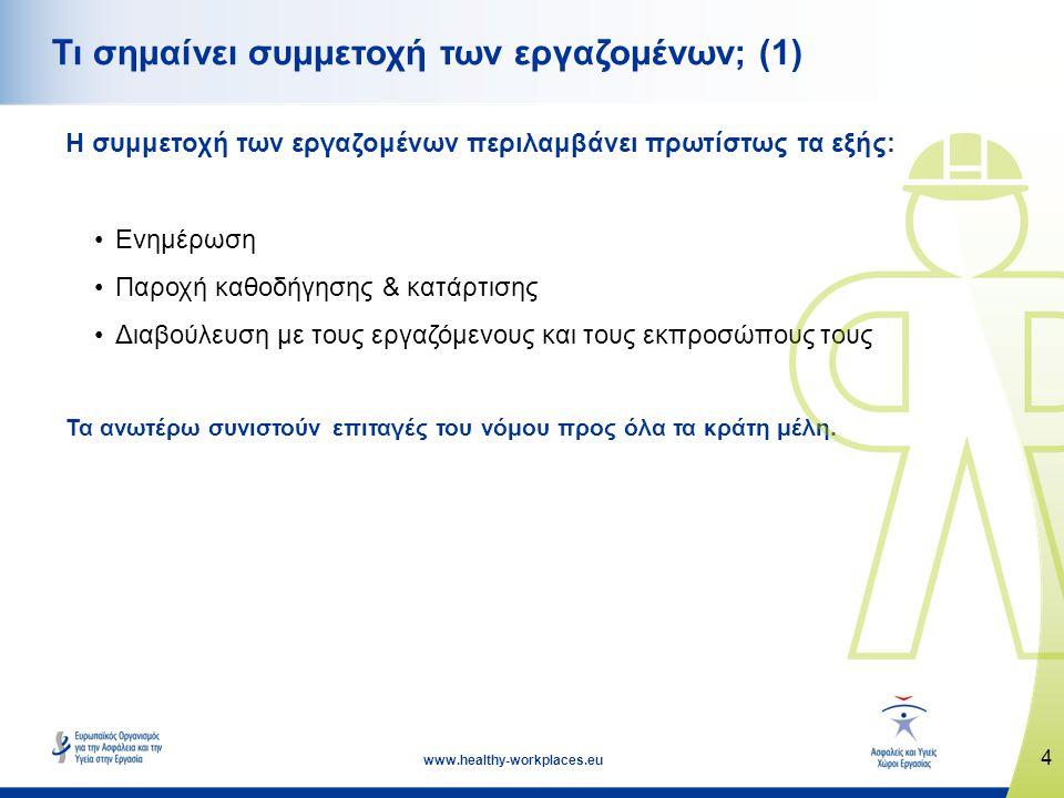 4 www.healthy-workplaces.eu Τι σημαίνει συμμετοχή των εργαζομένων; (1) Η συμμετοχή των εργαζομένων περιλαμβάνει πρωτίστως τα εξής: •Ενημέρωση •Παροχή