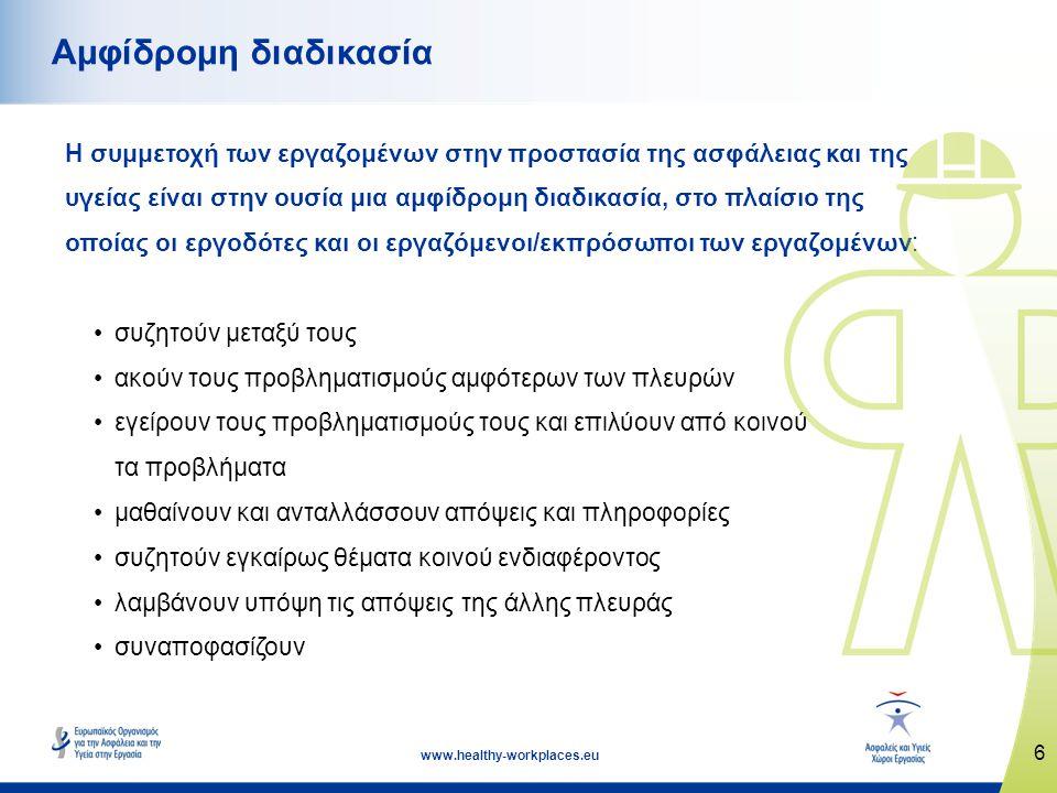 6 www.healthy-workplaces.eu Αμφίδρομη διαδικασία Η συμμετοχή των εργαζομένων στην προστασία της ασφάλειας και της υγείας είναι στην ουσία μια αμφίδρομ
