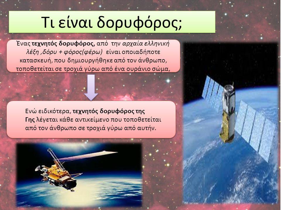 Ενώ ειδικότερα, τεχνητός δορυφόρος της Γης λέγεται κάθε αντικείμενο που τοποθετείται από τον άνθρωπο σε τροχιά γύρω από αυτήν. Τι είναι δορυφόρος; Ένα