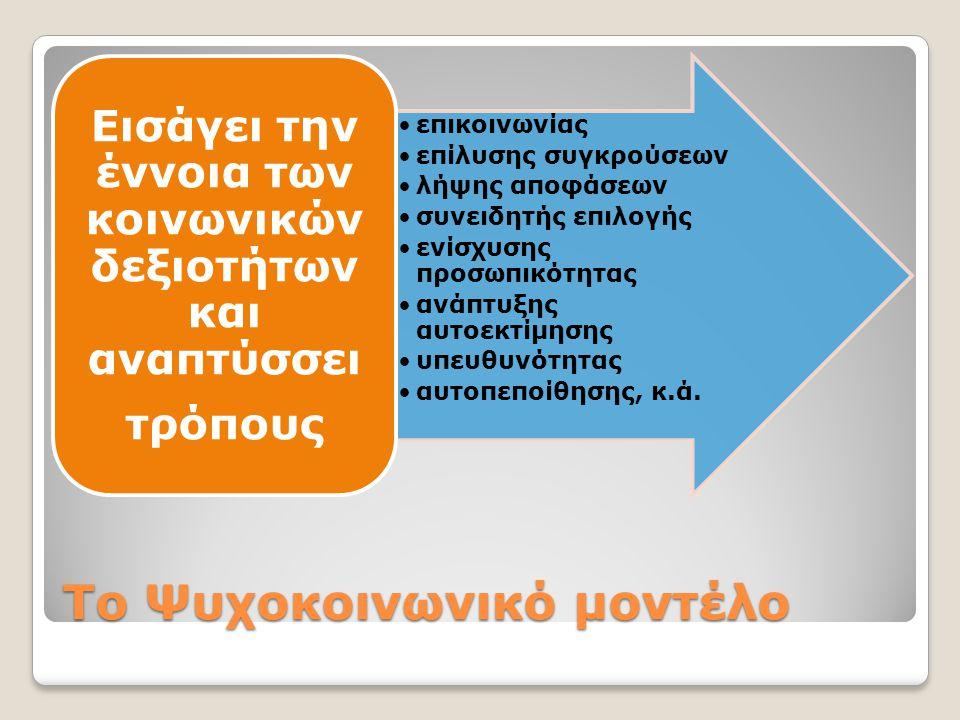 Το Ψυχοκοινωνικό μοντέλο •επικοινωνίας •επίλυσης συγκρούσεων •λήψης αποφάσεων •συνειδητής επιλογής •ενίσχυσης προσωπικότητας •ανάπτυξης αυτοεκτίμησης •υπευθυνότητας •αυτοπεποίθησης, κ.ά.