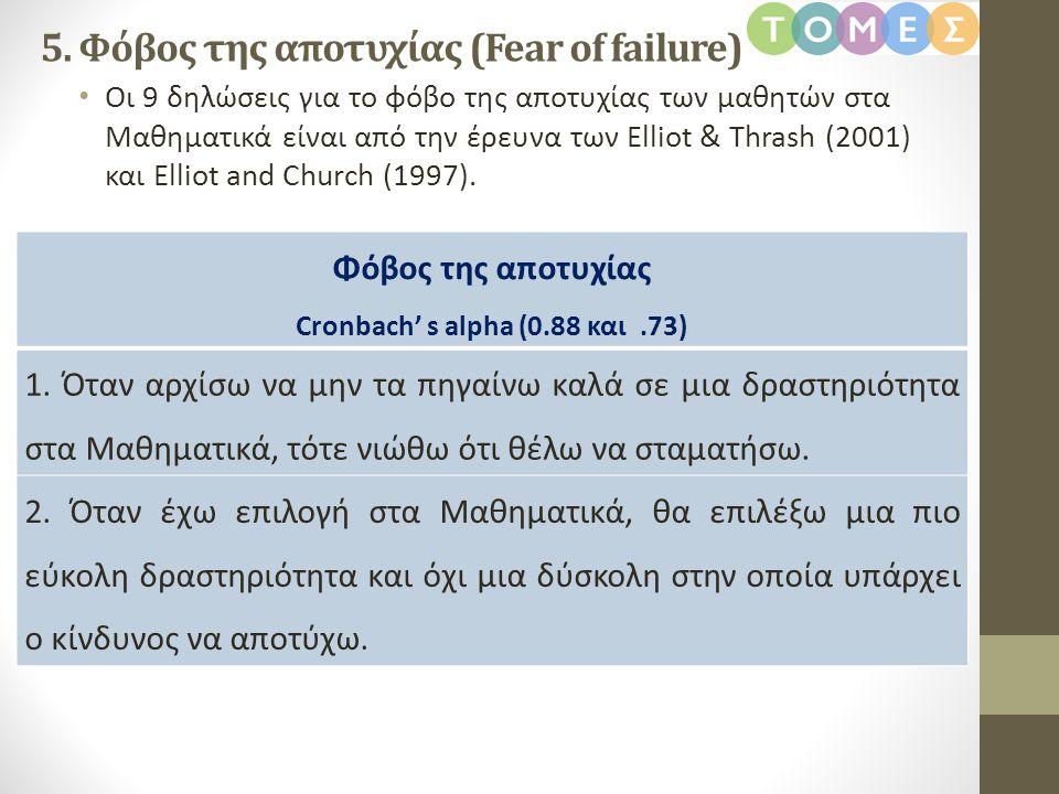 • Οι 9 δηλώσεις για το φόβο της αποτυχίας των μαθητών στα Μαθηματικά είναι από την έρευνα των Elliot & Thrash (2001) και Elliot and Church (1997). 5.