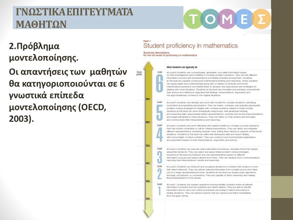 2.Πρόβλημα μοντελοποίησης. Οι απαντήσεις των μαθητών θα κατηγοριοποιούνται σε 6 γνωστικά επίπεδα μοντελοποίησης (OECD, 2003). ΓΝΩΣΤΙΚΑ ΕΠΙΤΕΥΓΜΑΤΑ ΜΑΘ