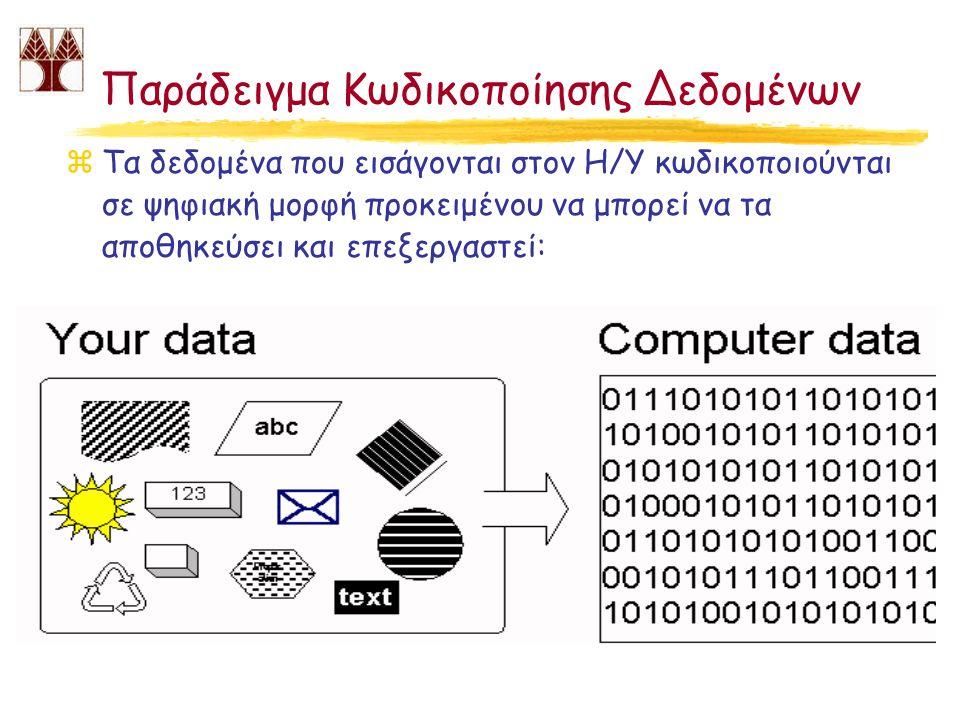Παράδειγμα Κωδικοποίησης Δεδομένων zΤα δεδομένα που εισάγονται στον Η/Υ κωδικοποιούνται σε ψηφιακή μορφή προκειμένου να μπορεί να τα αποθηκεύσει και ε