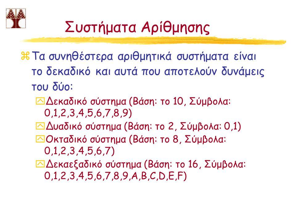 Μετατροπή δεκαεξαδικών αριθμών σε δυαδικούς και αντίστροφα zΔυαδικός σε δεκαεξαδικό: βλέπε προηγούμενη διαφάνεια zΔεκαεξαδικός σε δυαδικό: yΑναπαριστούμε κάθε δεκαεξαδικό σύμβολο με τέσσερα δυαδικά ψηφία αρχίζοντας από τα αριστερά και σύμφωνα με τις ακόλουθες αντιστοιχίες: 0 -> 0000, 1 -> 0001, 2 -> 0010, 3 -> 0011, 4 -> 0100, 5 -> 0101, 6 -> 0110, 7 -> 0111, 8 -> 1000, 9 -> 1001, A -> 1010, B -> 1011, C -> 1100, D -> 1101, E -> 1110, F -> 1111,) x367 (16) -> 0011 0110 0111 yΑπαλείφουμε όλα τα μηδενικά που βρίσκονται αριστερότερα από την πρώτη από αριστερά μονάδα: x0011 0110 0111 -> 11 0110 0111, άρα 367 (16) = 11 0110 0111 2