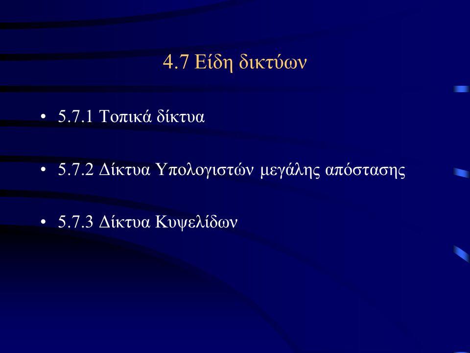 4.7 Είδη δικτύων •5.7.1 Τοπικά δίκτυα •5.7.2 Δίκτυα Υπολογιστών μεγάλης απόστασης •5.7.3 Δίκτυα Κυψελίδων