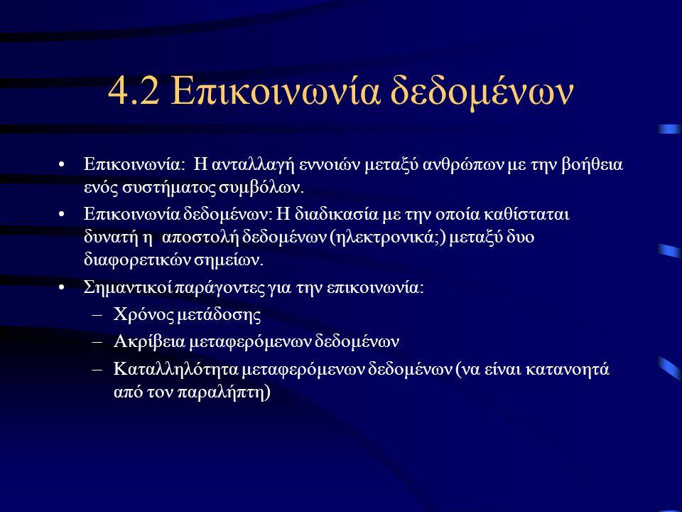 4.2 Επικοινωνία δεδομένων •Επικοινωνία: Η ανταλλαγή εννοιών μεταξύ ανθρώπων με την βοήθεια ενός συστήματος συμβόλων. •Επικοινωνία δεδομένων: Η διαδικα