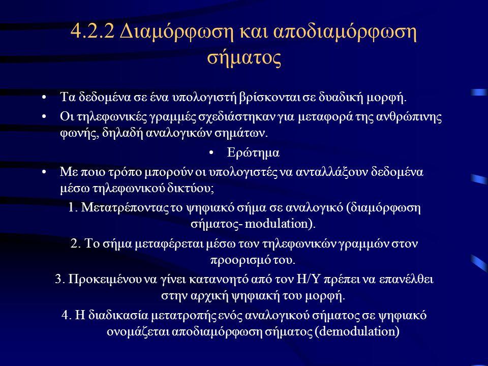 4.2.2 Διαμόρφωση και αποδιαμόρφωση σήματος •Τα δεδομένα σε ένα υπολογιστή βρίσκονται σε δυαδική μορφή. •Οι τηλεφωνικές γραμμές σχεδιάστηκαν για μεταφο