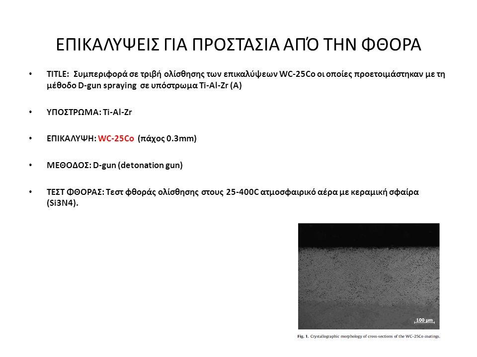 ΕΠΙΚΑΛΥΨΕΙΣ ΓΙΑ ΠΡΟΣΤΑΣΙΑ ΑΠΌ ΤΗΝ ΦΘΟΡΑ • TITLE: Συμπεριφορά σε τριβή ολίσθησης των επικαλύψεων WC-25Co οι οποίες προετοιμάστηκαν με τη μέθοδο D-gun spraying σε υπόστρωμα Ti-Al-Zr (Α) • ΥΠΟΣΤΡΩΜΑ: Ti-Al-Zr • ΕΠΙΚΑΛΥΨΗ: WC-25Co (πάχος 0.3mm) • ΜΕΘΟΔΟΣ: D-gun (detonation gun) • ΤΕΣΤ ΦΘΟΡΑΣ: Τεστ φθοράς ολίσθησης στους 25-400C ατμοσφαιρικό αέρα με κεραμική σφαίρα (Si3N4).