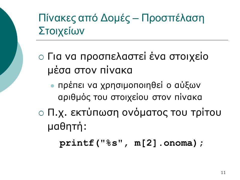 11 Πίνακες από Δομές – Προσπέλαση Στοιχείων  Για να προσπελαστεί ένα στοιχείο μέσα στον πίνακα  πρέπει να χρησιμοποιηθεί ο αύξων αριθμός του στοιχείου στον πίνακα  Π.χ.