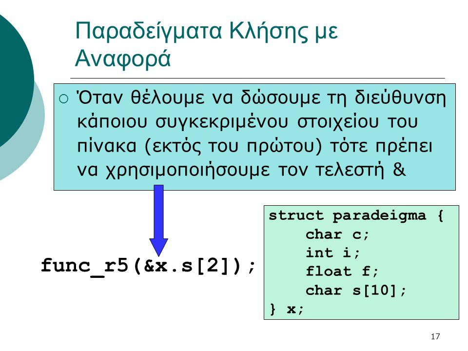 17 Παραδείγματα Κλήσης με Αναφορά func_r5(&x.s[2]); struct paradeigma { char c; int i; float f; char s[10]; } x;  Όταν θέλουμε να δώσουμε τη διεύθυνση κάποιου συγκεκριμένου στοιχείου του πίνακα (εκτός του πρώτου) τότε πρέπει να χρησιμοποιήσουμε τον τελεστή &