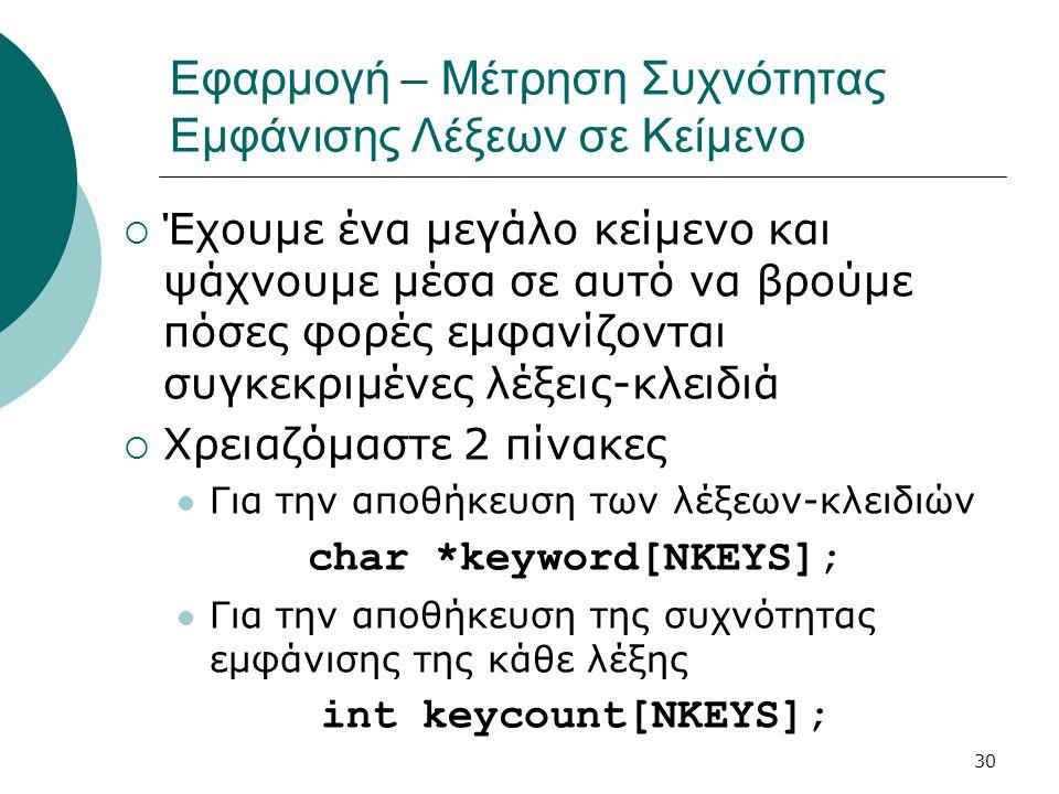 30 Εφαρμογή – Μέτρηση Συχνότητας Εμφάνισης Λέξεων σε Κείμενο  Έχουμε ένα μεγάλο κείμενο και ψάχνουμε μέσα σε αυτό να βρούμε πόσες φορές εμφανίζονται συγκεκριμένες λέξεις-κλειδιά  Χρειαζόμαστε 2 πίνακες  Για την αποθήκευση των λέξεων-κλειδιών char *keyword[NKEYS];  Για την αποθήκευση της συχνότητας εμφάνισης της κάθε λέξης int keycount[NKEYS];