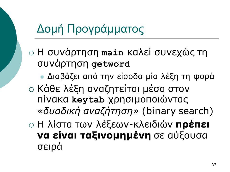 33 Δομή Προγράμματος  Η συνάρτηση main καλεί συνεχώς τη συνάρτηση getword  Διαβάζει από την είσοδο μία λέξη τη φορά  Κάθε λέξη αναζητείται μέσα στον πίνακα keytab χρησιμοποιώντας «δυαδική αναζήτηση» (binary search)  Η λίστα των λέξεων-κλειδιών πρέπει να είναι ταξινομημένη σε αύξουσα σειρά