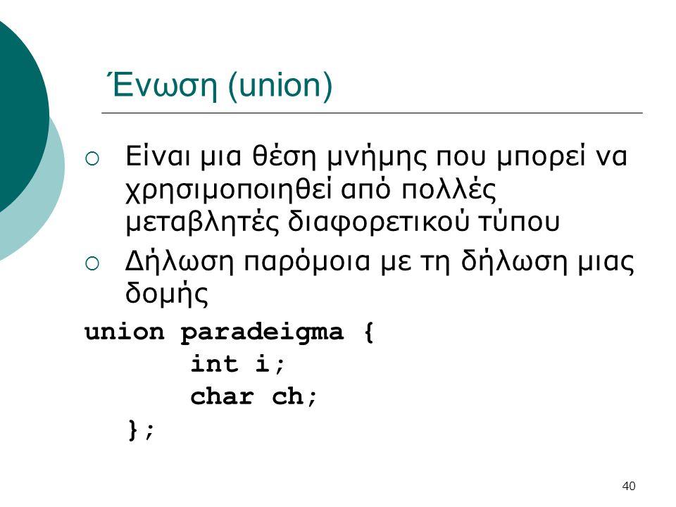 40 Ένωση (union)  Είναι μια θέση μνήμης που μπορεί να χρησιμοποιηθεί από πολλές μεταβλητές διαφορετικού τύπου  Δήλωση παρόμοια με τη δήλωση μιας δομής union paradeigma { int i; char ch; };