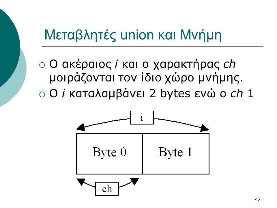 42 Μεταβλητές union και Μνήμη  Ο ακέραιος i και ο χαρακτήρας ch μοιράζονται τον ίδιο χώρο μνήμης.  Ο i καταλαμβάνει 2 bytes ενώ ο ch 1