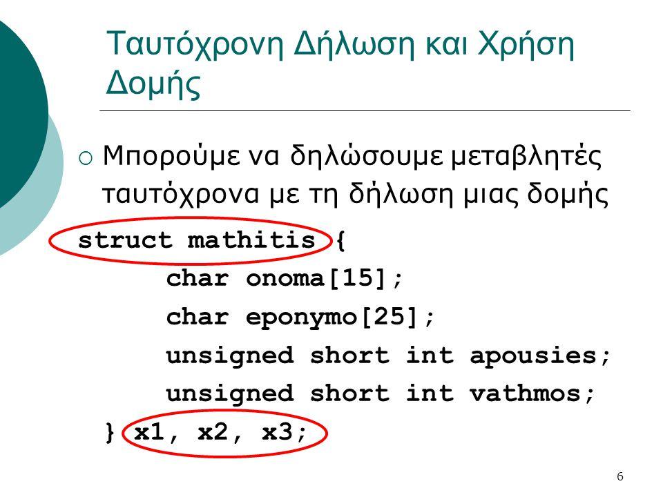 6 Ταυτόχρονη Δήλωση και Χρήση Δομής  Μπορούμε να δηλώσουμε μεταβλητές ταυτόχρονα με τη δήλωση μιας δομής struct mathitis { char onoma[15]; char eponymo[25]; unsigned short int apousies; unsigned short int vathmos; } x1, x2, x3;