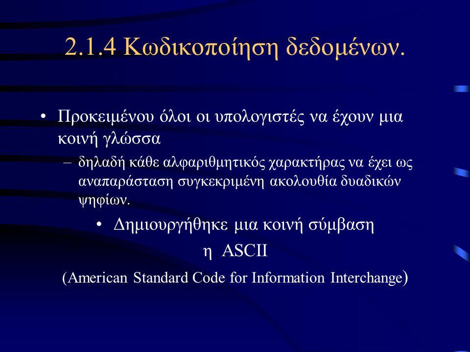 2.1.4 Κωδικοποίηση δεδομένων. •Προκειμένου όλοι οι υπολογιστές να έχουν μια κοινή γλώσσα –δηλαδή κάθε αλφαριθμητικός χαρακτήρας να έχει ως αναπαράστασ