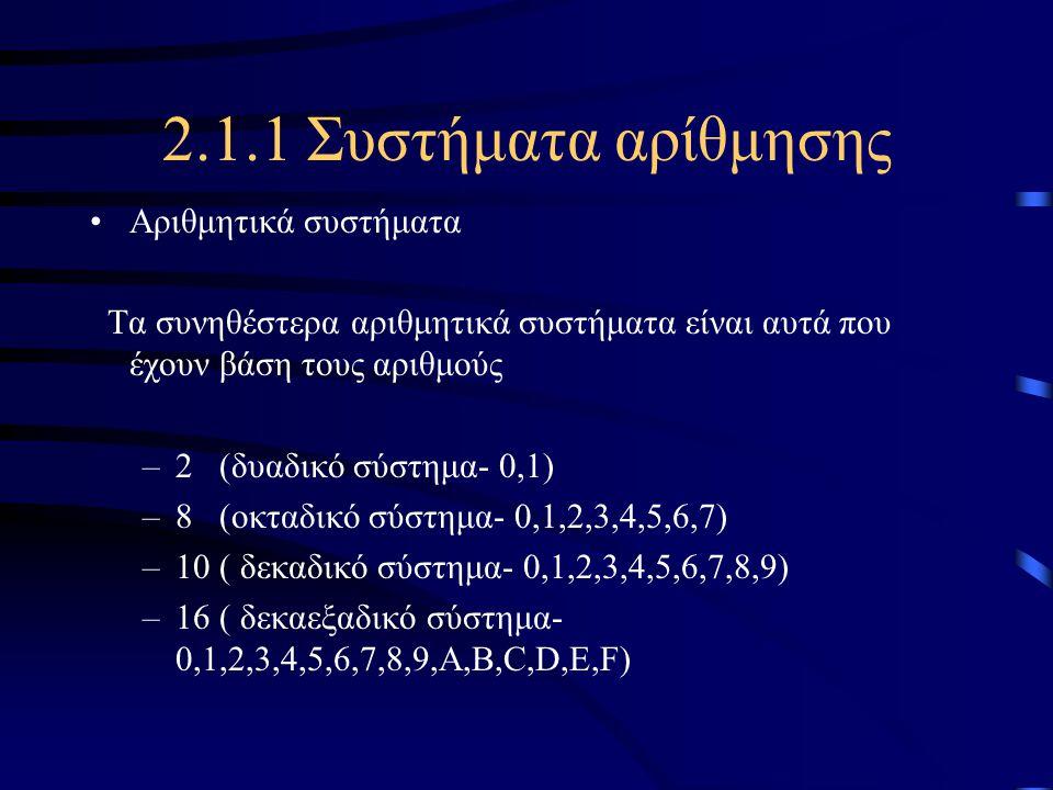 2.1.1 Συστήματα αρίθμησης •Αριθμητικά συστήματα Τα συνηθέστερα αριθμητικά συστήματα είναι αυτά που έχουν βάση τους αριθμούς –2 (δυαδικό σύστημα- 0,1)