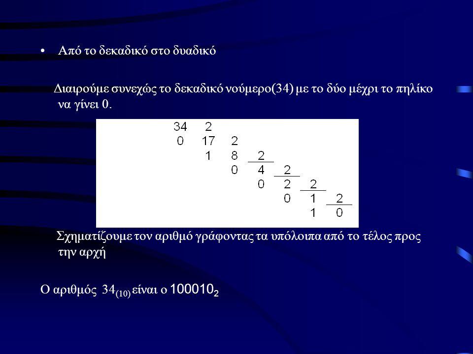 •Από το δεκαδικό στο δυαδικό Διαιρούμε συνεχώς το δεκαδικό νούμερο(34) με το δύο μέχρι το πηλίκο να γίνει 0. Σχηματίζουμε τον αριθμό γράφοντας τα υπόλ
