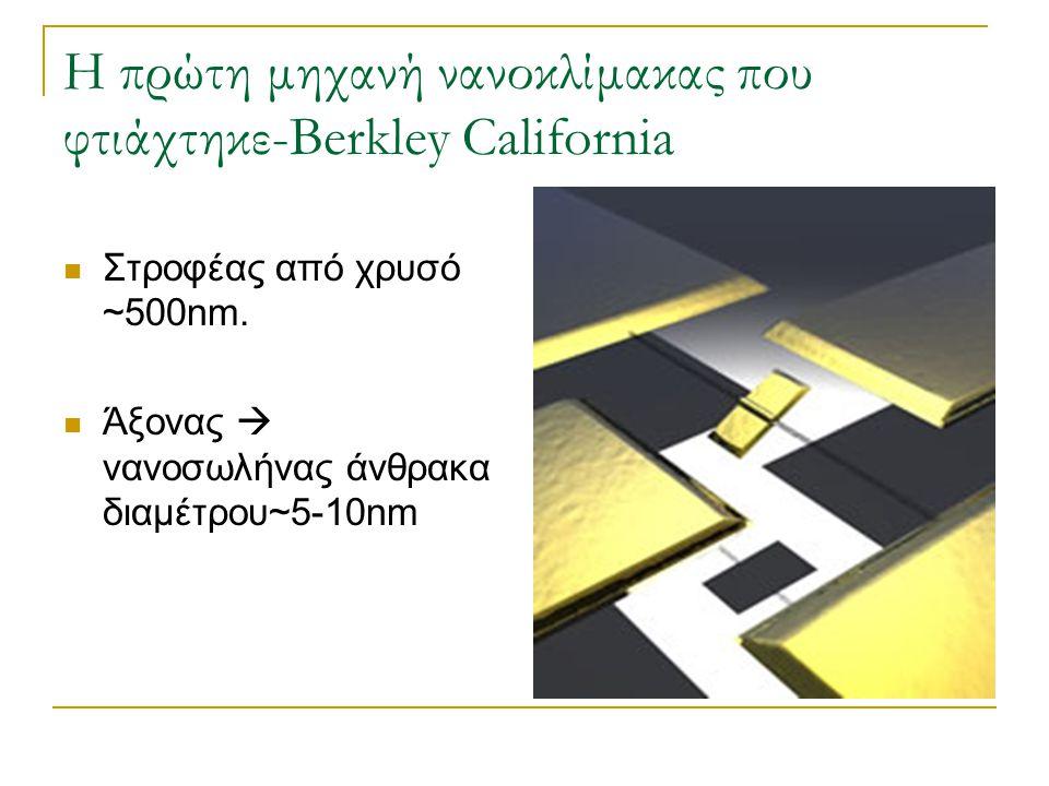 Η πρώτη μηχανή νανοκλίμακας που φτιάχτηκε-Berkley California  Στροφέας από χρυσό ~500nm.  Άξονας  νανοσωλήνας άνθρακα διαμέτρου~5-10nm