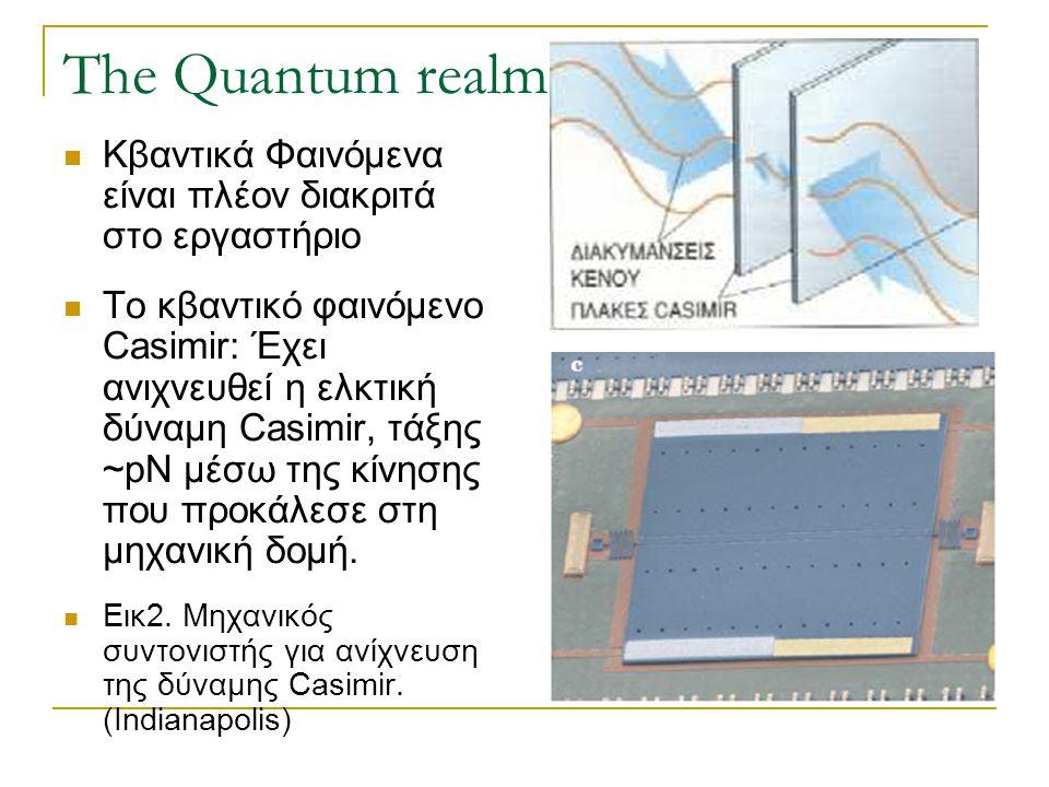 The Quantum realm  Κβαντικά Φαινόμενα είναι πλέον διακριτά στο εργαστήριο  Το κβαντικό φαινόμενο Casimir: Έχει ανιχνευθεί η ελκτική δύναμη Casimir,