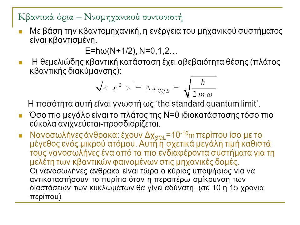Κβαντικά όρια – Ννομηχανικού συντονιστή  Με βάση την κβαντομηχανική, η ενέργεια του μηχανικού συστήματος είναι κβαντισμένη. Ε=hω(Ν+1/2), Ν=0,1,2…  Η