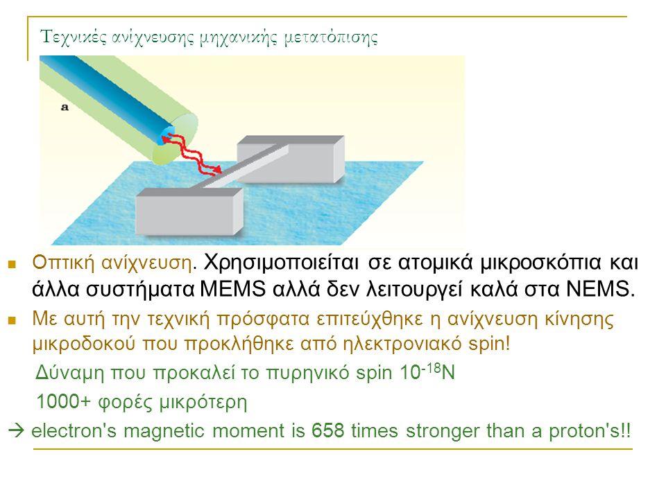 Τεχνικές ανίχνευσης μηχανικής μετατόπισης  Οπτική ανίχνευση. Χρησιμοποιείται σε ατομικά μικροσκόπια και άλλα συστήματα MEMS αλλά δεν λειτουργεί καλά