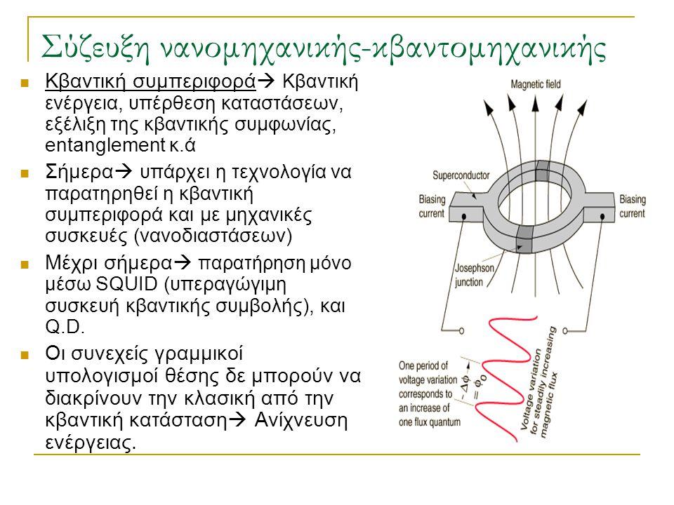 Σύζευξη νανομηχανικής-κβαντομηχανικής  Κβαντική συμπεριφορά  Κβαντική ε νέργεια, υπέρθεση καταστάσεων, εξέλιξη της κβαντικής συμφωνίας, entanglement