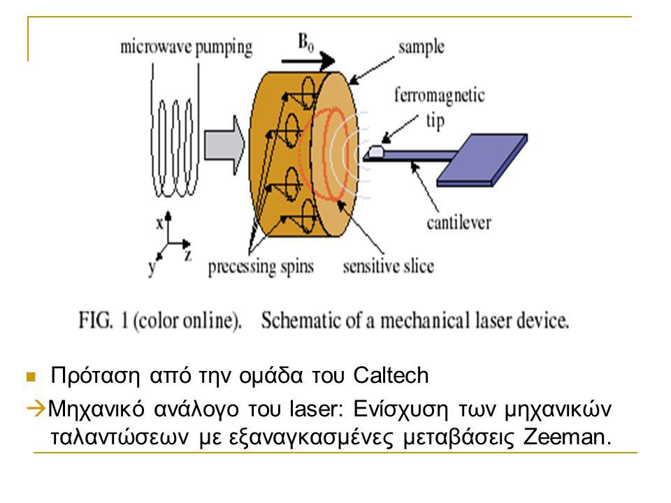  Πρόταση από την ομάδα του Caltech  Μηχανικό ανάλογο του laser: Ενίσχυση των μηχανικών ταλαντώσεων με εξαναγκασμένες μεταβάσεις Zeeman.