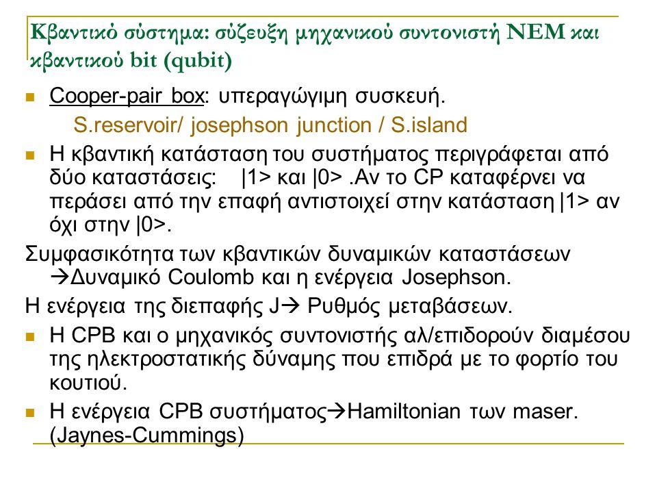 Κβαντικό σύστημα: σύζευξη μηχανικού συντονιστή NEM και κβαντικού bit (qubit)  Cooper-pair box: υπεραγώγιμη συσκευή. S.reservoir/ josephson junction /