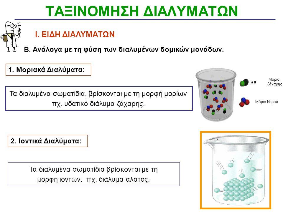 ΤΑΞΙΝΟΜΗΣΗ ΔΙΑΛΥΜΑΤΩΝ Ι. ΕΙΔΗ ΔΙΑΛΥΜΑΤΩΝ ΦΥΣΙΚΗ ΚΑΤΑΣΤΑΣΗ 1.ΑΕΡΙΑ ΔΙΑΛΥΜΑΤΑ Αέρια σε αέριο διαλύτη π.χ. άζωτο (N2) στον ατμοσφαιρικό αέρα Υγρά σε αέρι