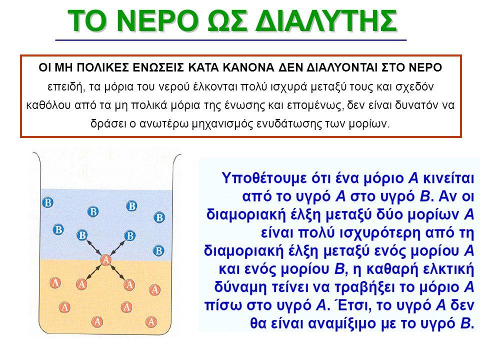 Ενυδάτωση των πολικών μορίων που οδηγεί σε διάλυση των ενώσεων. Επιπλέον, εάν η ελκτική δύναμη που ασκούν τα μόρια του νερού στους δύο πόλους του μορί