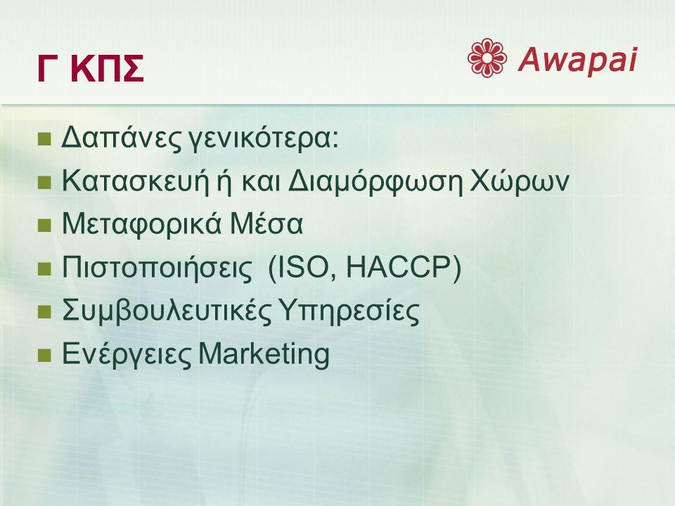 Γ ΚΠΣ  Δαπάνες γενικότερα:  Κατασκευή ή και Διαμόρφωση Χώρων  Μεταφορικά Μέσα  Πιστοποιήσεις (ISO, HACCP)  Συμβουλευτικές Υπηρεσίες  Ενέργειες Marketing
