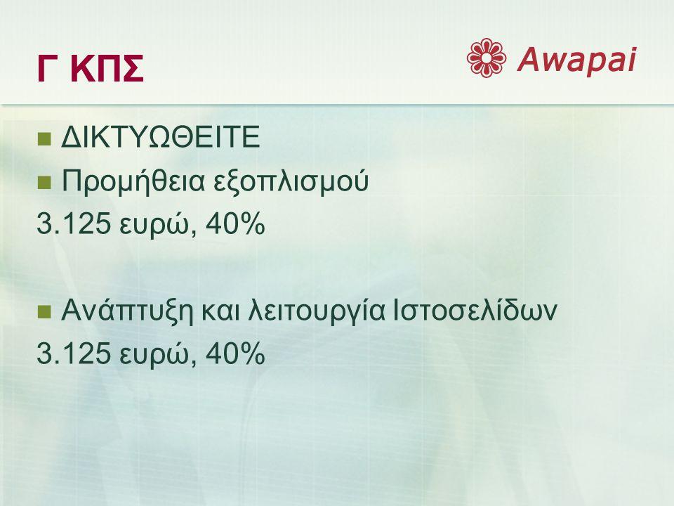 Γ ΚΠΣ  ΔΙΚΤΥΩΘΕΙΤΕ  Προμήθεια εξοπλισμού 3.125 ευρώ, 40%  Ανάπτυξη και λειτουργία Ιστοσελίδων 3.125 ευρώ, 40%