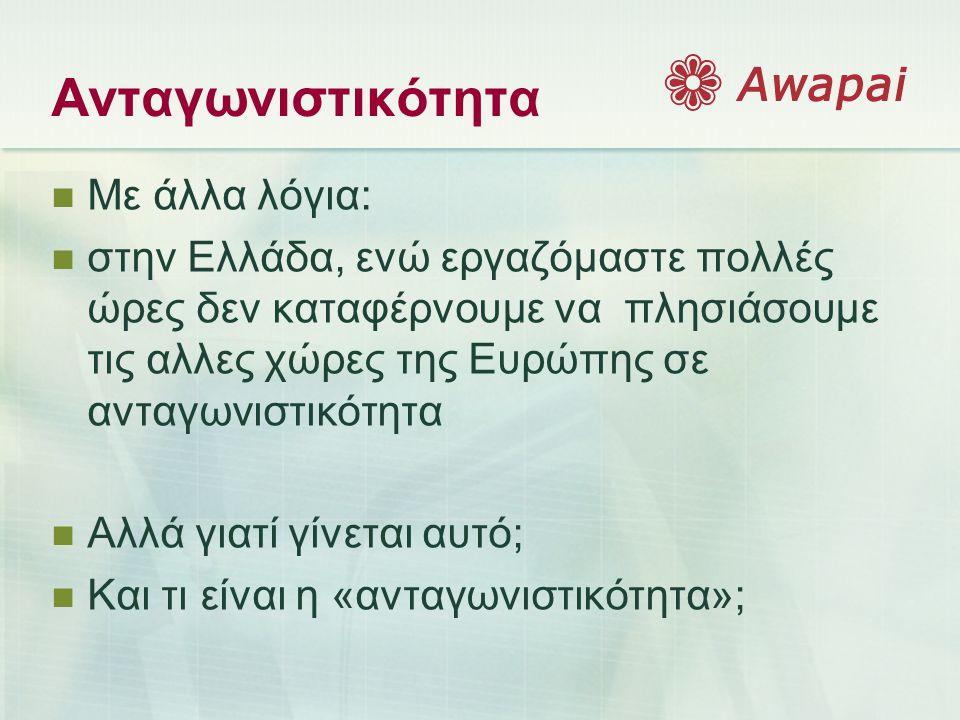 Ανταγωνιστικότητα  Με άλλα λόγια:  στην Ελλάδα, ενώ εργαζόμαστε πολλές ώρες δεν καταφέρνουμε να πλησιάσουμε τις αλλες χώρες της Ευρώπης σε ανταγωνισ