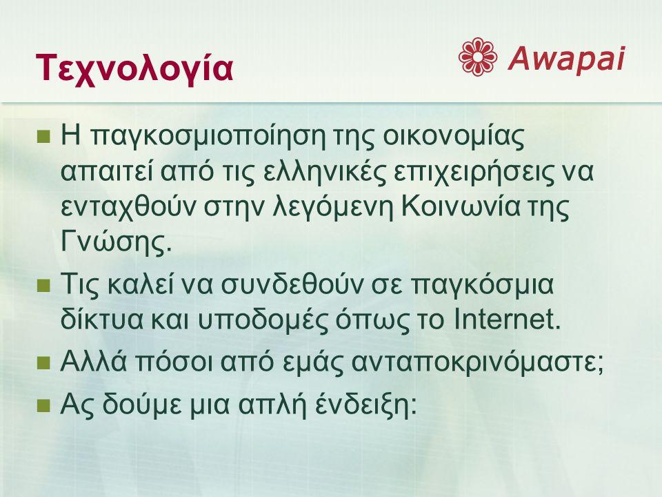 Τεχνολογία  Η παγκοσμιοποίηση της οικονομίας απαιτεί από τις ελληνικές επιχειρήσεις να ενταχθούν στην λεγόμενη Κοινωνία της Γνώσης.  Τις καλεί να συ
