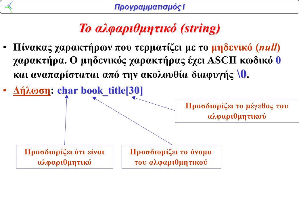 Προγραμματισμός Ι Το αλφαριθμητικό (string) 0 \0 •Πίνακας χαρακτήρων που τερματίζει με το μηδενικό (null) χαρακτήρα. Ο μηδενικός χαρακτήρας έχει ASCII